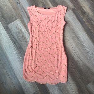 Dresses & Skirts - Peach Mini- Dress with Scallop Trim